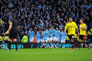 Man city won by 2 – 0 against Watford