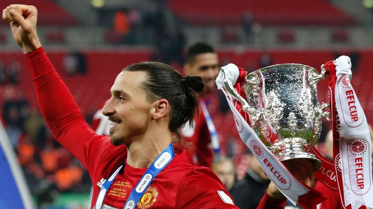 Zlatan handed EFL Cup to Man Utd