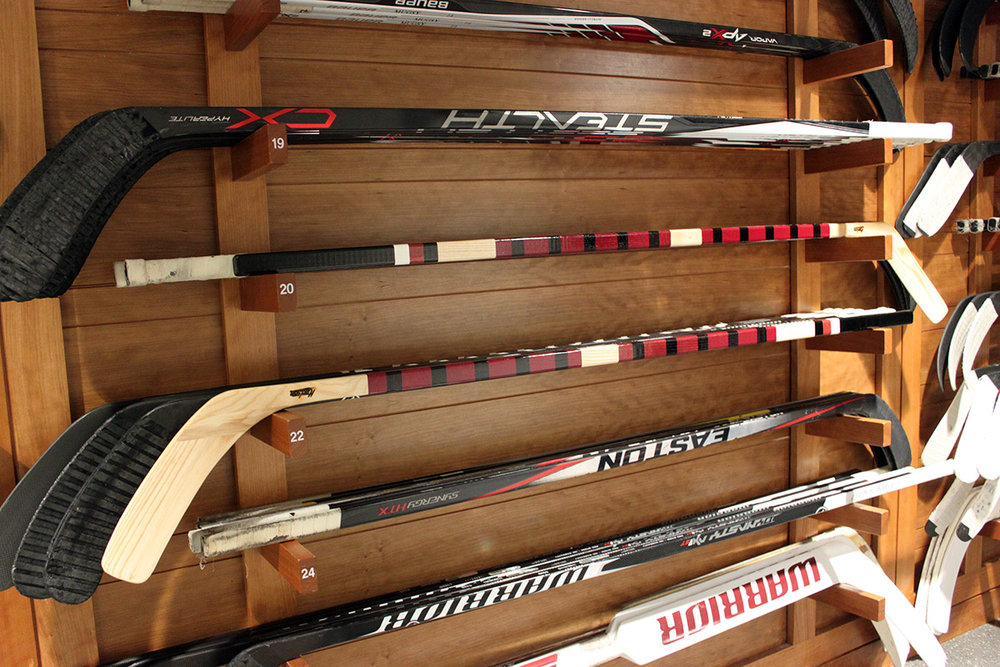 Hockey sticks rack